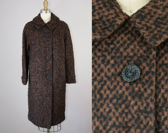 1960s Vintage Brown and Black Wool Boucle Coat. 60s Winter Midi Jacket. Oversized Coat (S,M)
