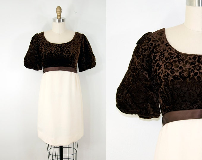 60s Vintage Cream & Brown Floral Velvet Bow Dress (S)