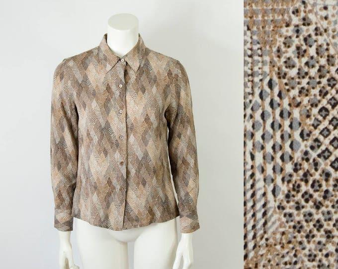 90s Vintage Mixed Diamond Print Silk Blouse (S)