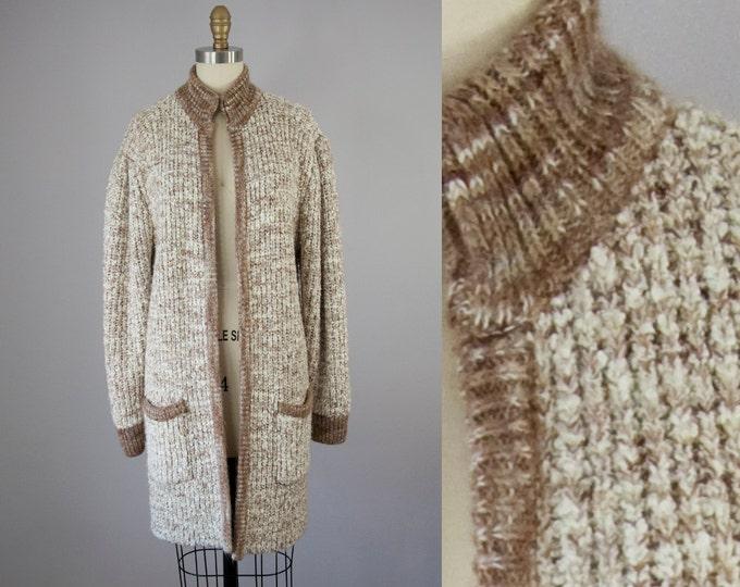 80s Vintage Long Marled Sweater Jacket. 80s Brown Knit Cardigan (M, L)