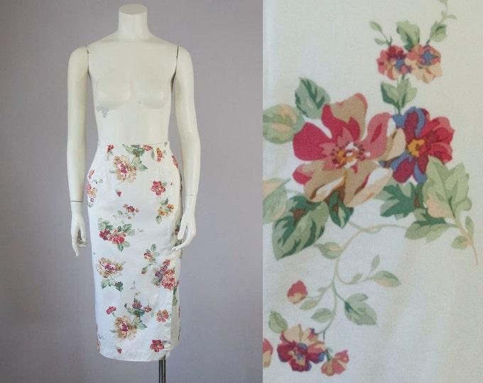 80s Vintage Floral Cotton Twill Midi Skirt. High Waist Long Pencil Skirt (S)