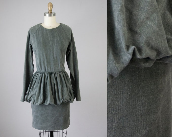 80s Vintage Grey Washed Knit Bubble Dress (M)