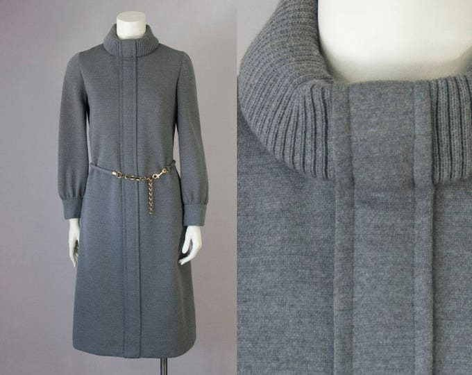 60s Vintage BERGDORF Goodman Grey Wool Knitted Turtleneck Belted Midi Dress (S, M)