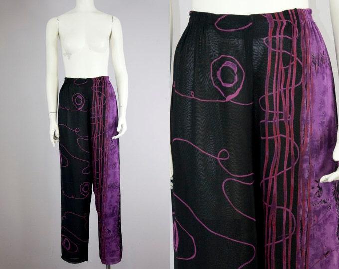 80s Vintage Black Rayon Chiffon Purple Print High Rise Tapered Pants (S, M)