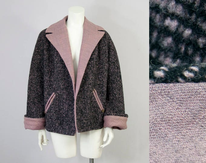 50s Vintage Black and Lilac Wool Coat (S, M)