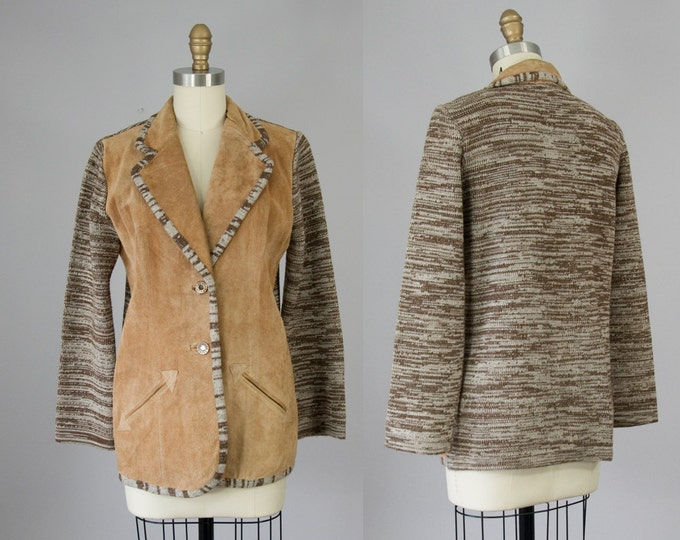 70s Vintage Suede and Knit Jacket. 70s Montage Western Boho Blazer (S, M)