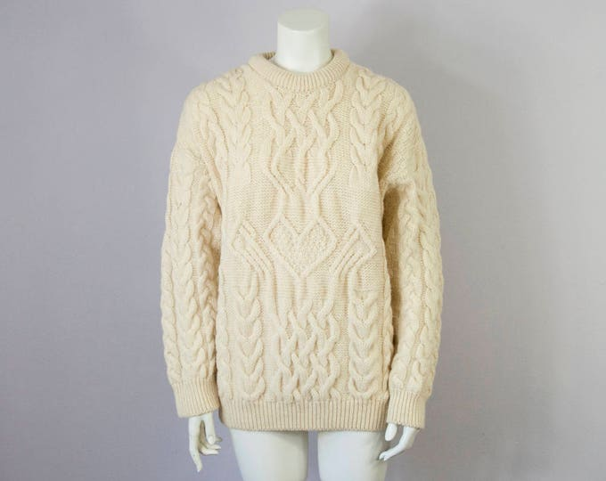 80s Vintage Irish Wool Cable Knit Sweater (Oversized XS, S, M)
