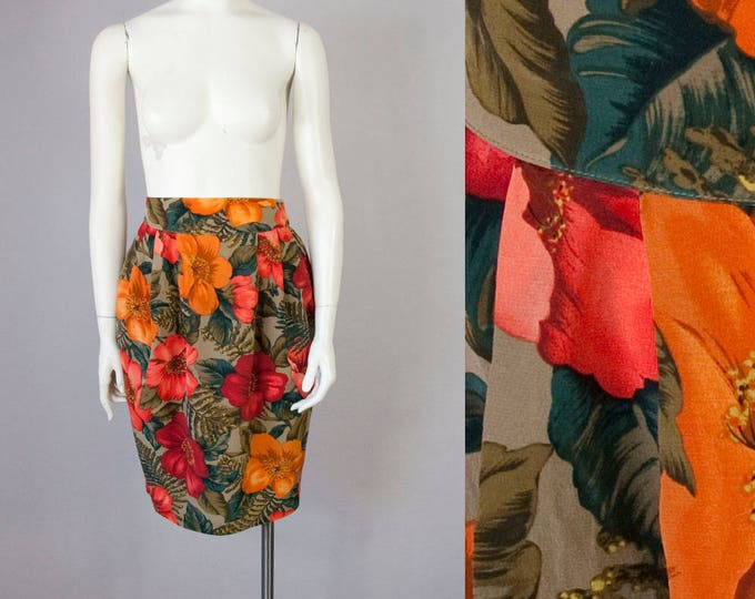 "80s Vintage Silk Floral Print High Waist Pleated Skirt (XS, S; 25"" Waist)"