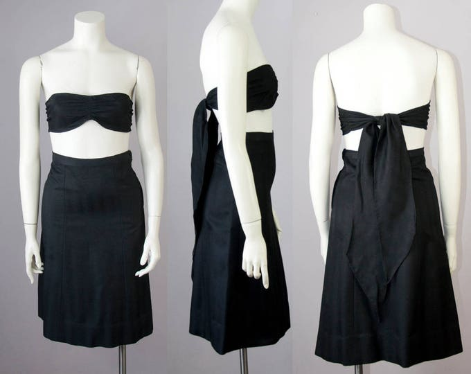 """50s Vintage 3 Piece Black Silky Rayon Tailored Suit with Bandeau Top (XS; 24 1/2"""" Waist)"""
