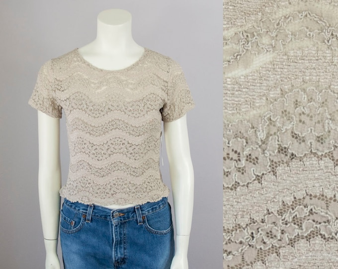 90s Vintage Stretch Lace Cropped Blouse Top. Deadstock (M)