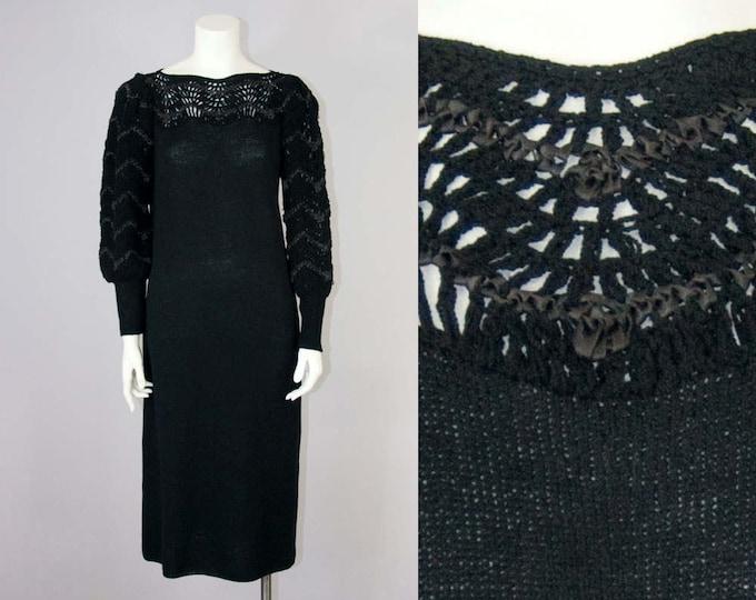 70s Vintage Crochet Ribbon Black Knit Wool Long Dress (S, M)