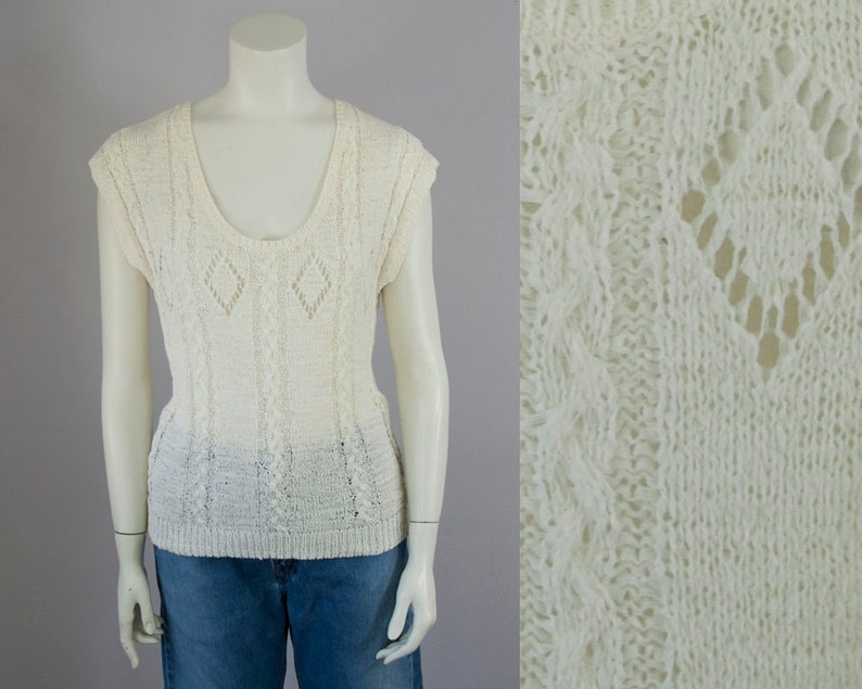 M 80s Vintage Cream Light Weight Cable Knit Sweater Blouse