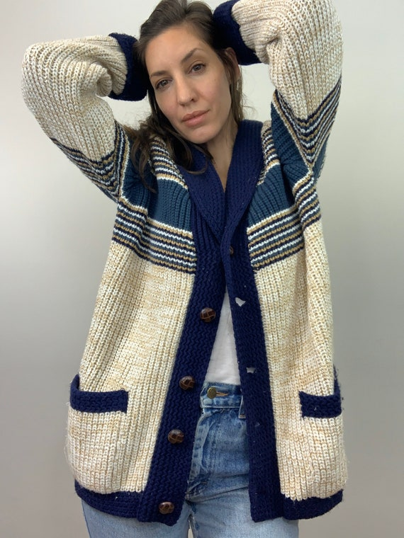 Vintage Shawl Collar Striped Cardigan Unisex (S, M