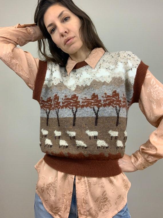 Vintage Sheep Sweater Vest  (XS, S, M)