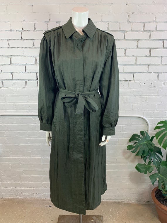 Vintage Olive Green Puff Sleeve Crinkled Trench Co