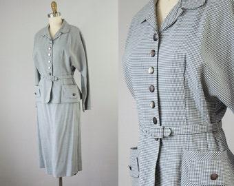 1950s Vintage Bobbie Brooks Grey Checkered Suit (S, M)