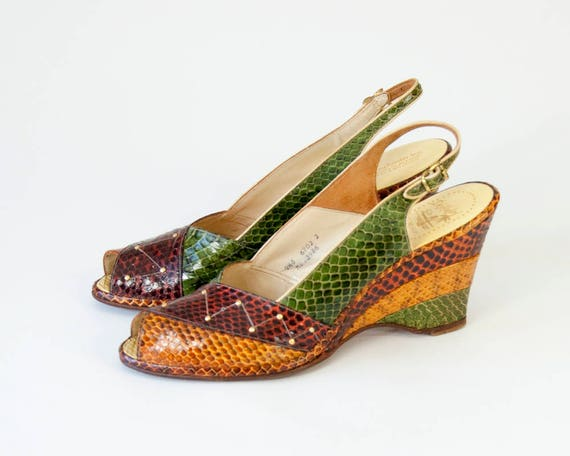 Vintage Snakeskin Leather Peep Toe Wedge Slingback