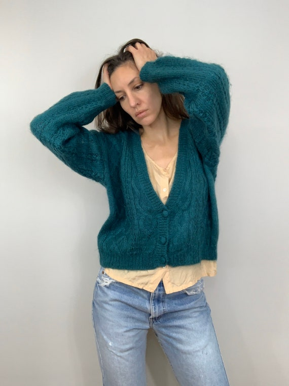 Vintage Emerald Mohair Cable Knit Crop Cardigan (S