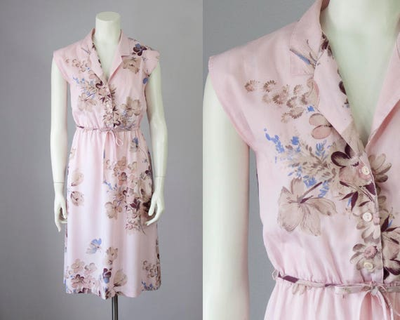 70s Vintage Pink Floral Print Cotton Midi Dress (X