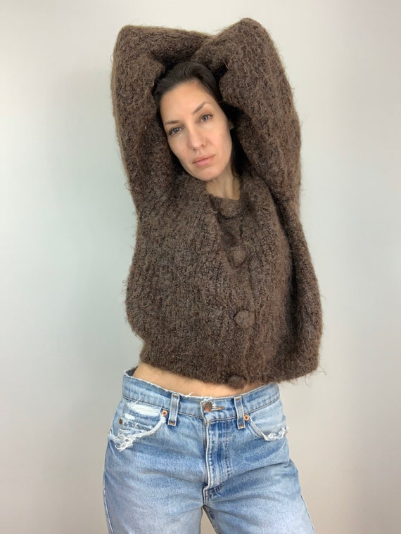 Vintage Brown Mohair Boucle Cropped Cardigan (M, L