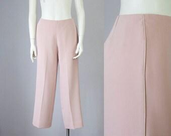 90s Vintage Bloomingdale's Blush Pink Satin Piping Trouser Pants (S)