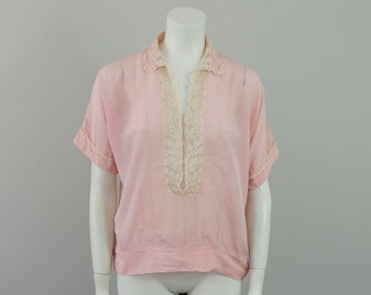 1920s Vintage Pale Pink Silk and Floral Lace Blouse (M)