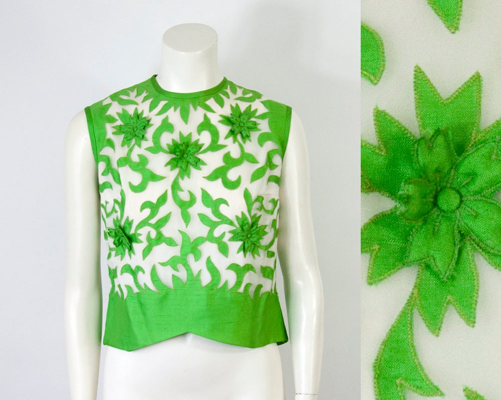 S vintage floral applique sheer organza cropped blouse m