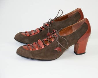 Vintage Suede and Leather Lace-Up Oxford Heels. 30s Style 70s Vintage  (6, 6 1/2 B)