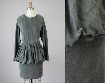 80s Vintage Grey Washed Knit Bubble Dress (S, M)