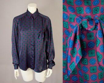70s 80s Vintage Maroon Silky Pocket Tie Print Blouse (L)