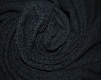 8892de9d3e3 Heavy French Terry Knit Fabric 15 oz lineal yard Jet Black made in Japan By  The Yard