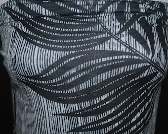 74828a3fb Hawaiian palms leaves print Rayon Spandex Knit Jersey Fabric Black and  white vertical pinstripes with large palm leaves print by the yard