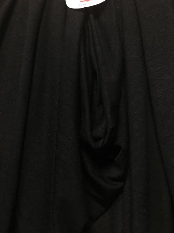 Linen Tencel Luxurious Japanese Knit Drapey Jersey fabric semi-sheer BLACK