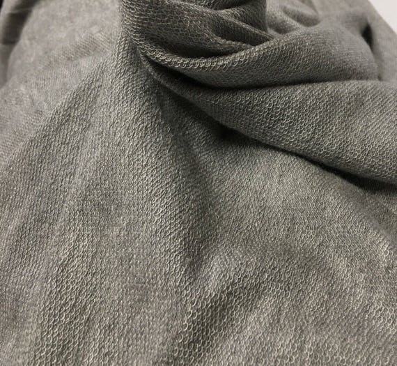 French terry  Modal Spandex Knit Fabric Super Soft  and Drapy Heather Gray