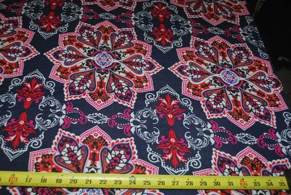 Rayon Stretch Jersey Knit Fabric Beautiful turkish flowers multi combo 9.5 oz