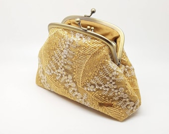 Womens Jewellery and Accessories Wedding Clutch Bag Peach Oval Silk Clutch Bag with Silver Sequins and Crystals by Hyaline London