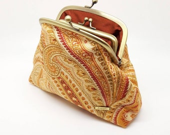 Gold Paisley Clutch Coin Purse Wallet Cotton Double Frame Metal Bag Pocket Kiss Lock Joanyg Gift for Women Orange Copper Red Yellow Rust