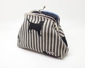 Black Dog Kiss Lock Clutch Coin Purse Wallet Silver Double Frame Gift for Women Striped Linen Cotton Silk Joanyg Labrador Bag Puppy Cream