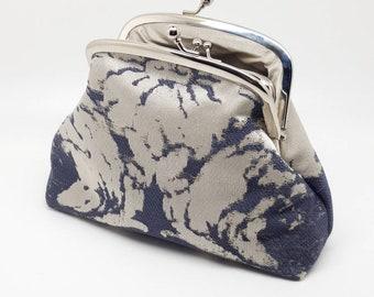 Gray Beige Kisslock Clasp Coin Purse Wallet Clutch Gift for Women Metal Frame Pouch Small Bag Silver Joanyg Gray Silk Cream Handbag Handmade