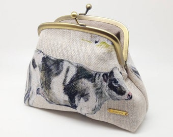 Cow Coin Purse Wallet Clutch Gold Linen Farmer Kiss Lock Double Metal Frame Gift for Women Joanyg Bag Kisslock Gift for Women Bag Dairy