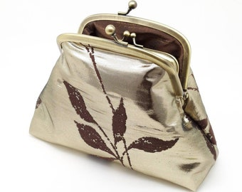 Metallic Gold Kisslock Coin Clasp Purse Wallet Clutch Gift for Women Silk Leaves Gold Metal Frame  Pouch Small Bag Brown Shiny