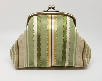 Kiss Lock Coin Purse Clasp Wallet Clutch Striped Cream Green Brown Gift for Women Gold Metal Frame Pouch Small Bag Joanyg Silk Stylish