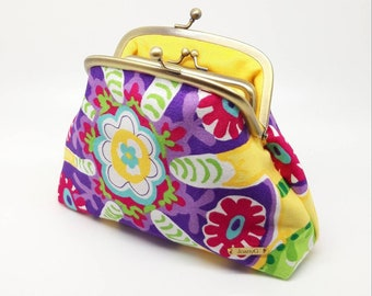 Purple Flower Clutch Coin Purse Wallet Cotton Double Frame Metal Bag Pocket Kiss Lock Joanyg Gift for Women Red Yellow Green Blue Tropical