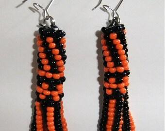 Black & Orange Beaded  tassle earrings