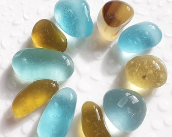 Collection of Aquamarine and Amber Seaham Sea Glass Pebls - E2967 - from Seaham, UK