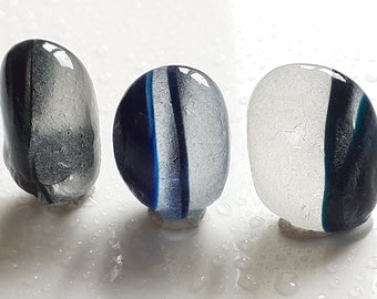 Trio of Seaham Sea Glass Stripey Multi pebls - S2232 - from Seaham, UK