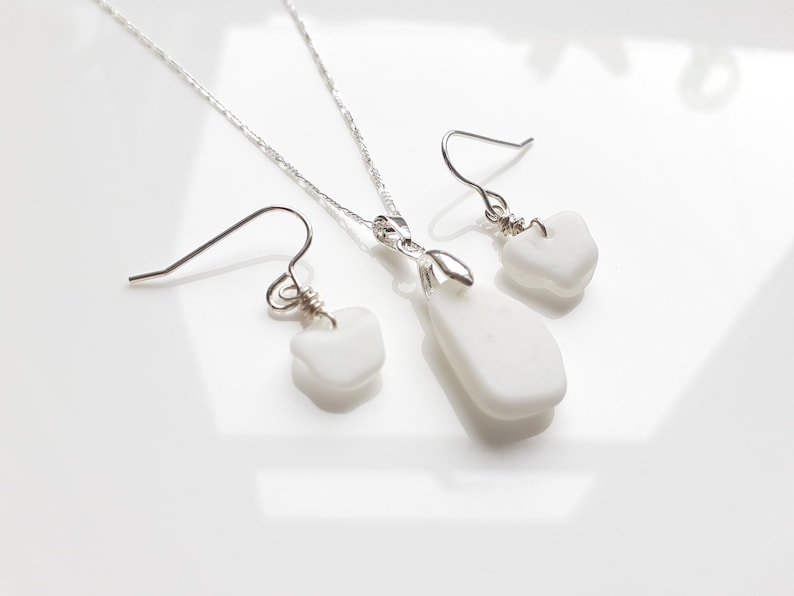 Seaham Sea Glass earrings and pendant set of white/clear image 0