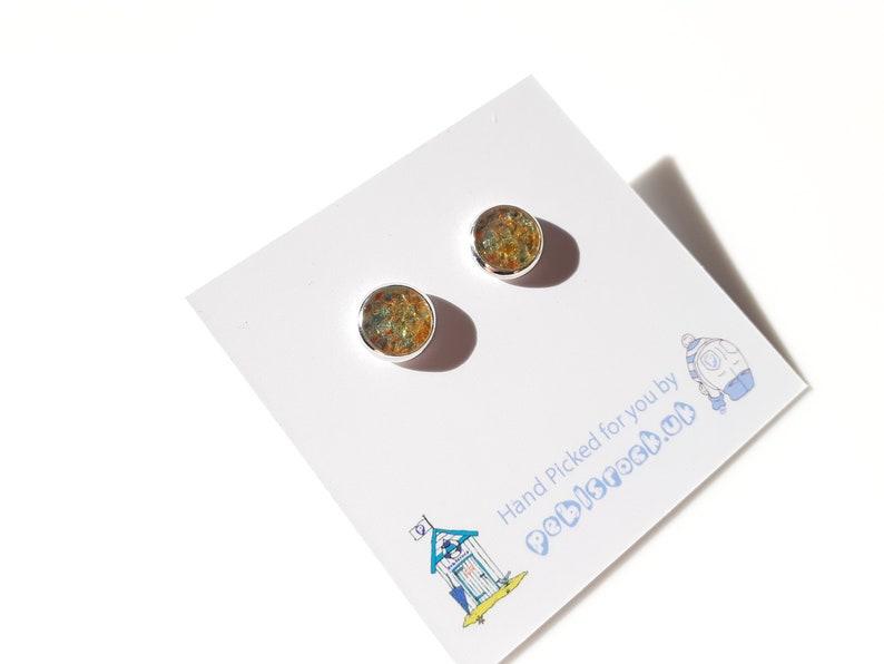 Sea Glass Rockpool 8mm stud earrings of Orange and Green Sea image 0