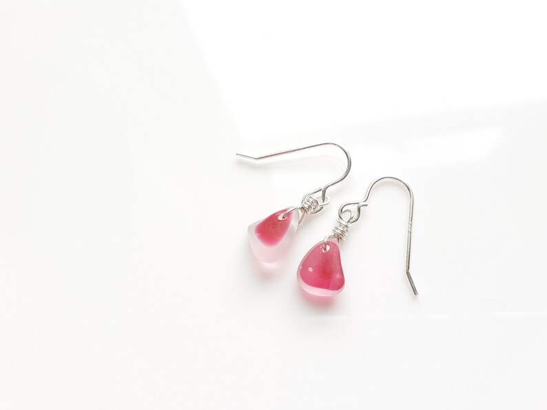 Cute Pink Multi Seaham Sea Glass earrings suspended from image 0