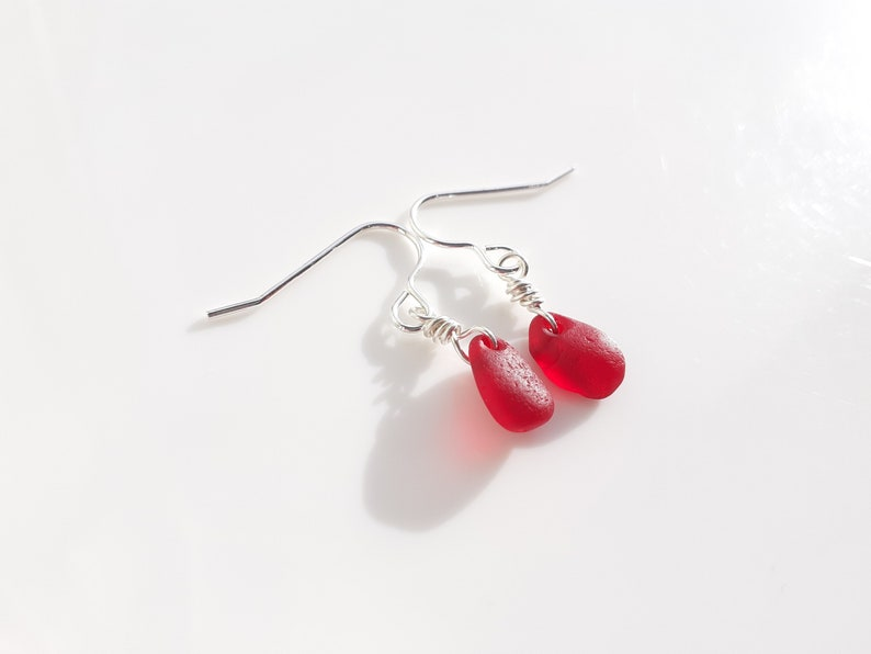 Bright Red Seaham Sea Glass earrings suspended from Sterling image 0
